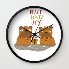 Brussels Griffon Peace , Love, Joy Wall Clock