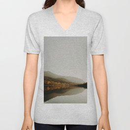 The Faded Forest on a River (Color) Unisex V-Neck