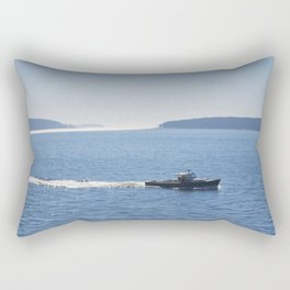 Lobster Boat And Islands Off Mount Desert Island Maine Rectangular Pillow