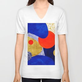 Terrazzo galaxy blue night yellow gold orange Unisex V-Neck