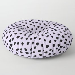 Lilac and Black Seamless Pattern Paint Brush Strokes Floor Pillow