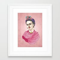 frida khalo Framed Art Prints featuring Frida Kahlo by Barruf