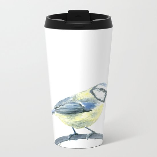 Blue tit, watercolor painting Metal Travel Mug