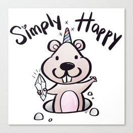 Simply Happy Groundhog Canvas Print