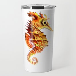 Seahorse, orange yellow cute animals illustration children room nursery sea world art Travel Mug