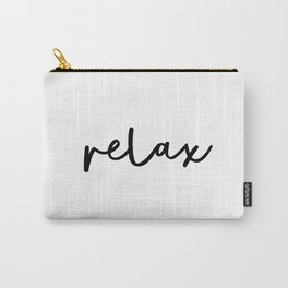 Relax black and white contemporary minimalist typography poster home wall decor bedroom Carry-All Pouch