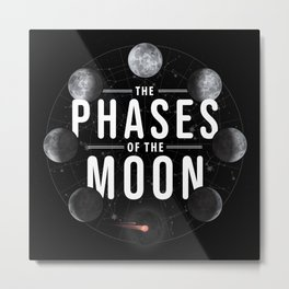 8 Phases of the Moon in Order Image Diagram Meaning Metal Print