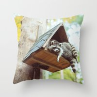 racoon Throw Pillows featuring racoon by Kalbsroulade