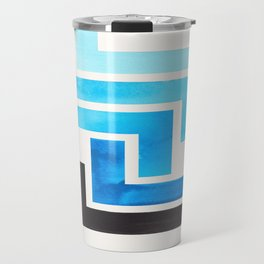Cerulean Blue Aztec Pattern Mid-century Modern Simple Geometric Pattern Watercolor Minimalist Art Sq Travel Mug