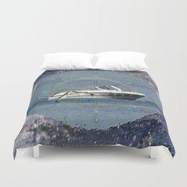 Nautical Boat Wheel Lake Waves Duvet Cover