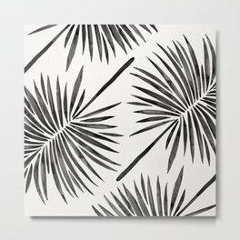 Tropical Fan Palm – Black Metal Print