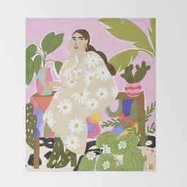 Hanging out with plants Throw Blanket