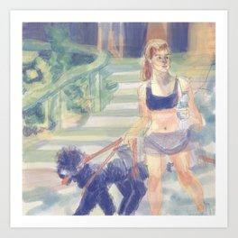 danielle campbell walking her dogs Art Print