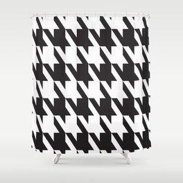 Pattern Play: Herringbone Black and White Shower Curtain