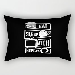 Eat Sleep Watch Repeat - TV Series Couch Binge Rectangular Pillow