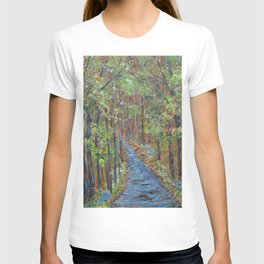 Deep in the Woods, Impressionism Landscape, Rustic Earth Tone Colors T-shirt