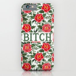 Bitch - Vintage Floral Tattoo Collection iPhone Case