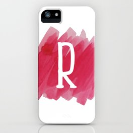 Letter R Pink Watercolor iPhone Case
