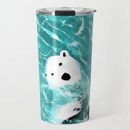 Playful Polar Bear In Turquoise Water Design Travel Mug