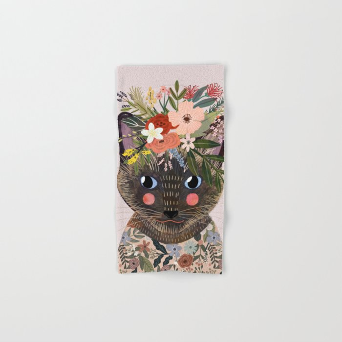 Siamese Cat with Flowers Hand & Bath Towel