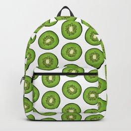 Green Kiwi Fruit Slices on white Backpack