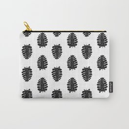 Indoor House plant leaf linocut lino print printmaking philodendron leaves tropical black and white Carry-All Pouch