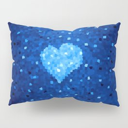 Winter Blue Crystallized Abstract Heart Pillow Sham