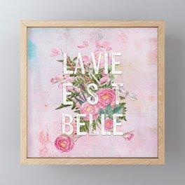 LAVIE EST BELLE - Watercolor - Pink Flowers Roses - Rose Flower Framed Mini Art Print
