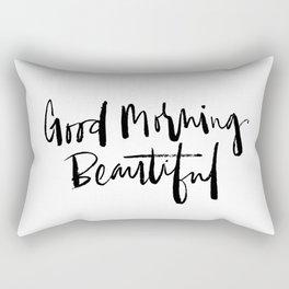 Good Morning Beautiful Brush Script Rectangular Pillow