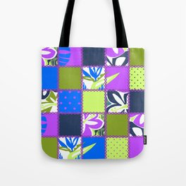 Pokii Hawaiian Hibiscus Flower and Patchwork Designs Tote Bag