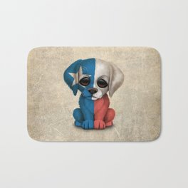 Cute Puppy Dog with flag of Texas Bath Mat