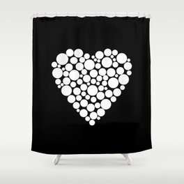 Simple black and white pattern .heart black polka dots .  2 Shower Curtain