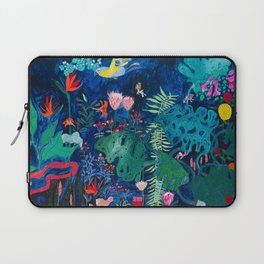 Brightly Rainbow Tropical Jungle Mural with Birds and Tiny Big Cats Laptop Sleeve