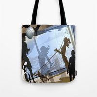 volleyball Tote Bags featuring Anyone For Volleyball? by Robin Curtiss