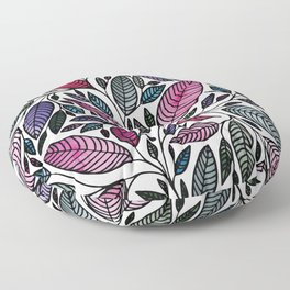 Botanical Floral Leaf Illustration Floor Pillow