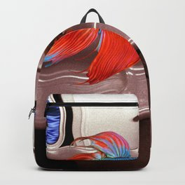 'Pet Fish Going to Work on the Subway,' magical realism surreal portrait painting by Sérgio Valle Duarte Backpack