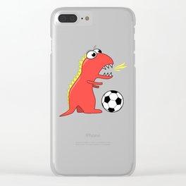 Black Cartoon Dinosaur Soccer Clear iPhone Case