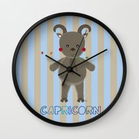 capricorn Wall Clocks featuring Capricorn by Esther Ilustra