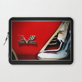 Chevy Classic Car Photography 396 Turbo Jet Fender 8x10 Cherry Red, Silver Laptop Sleeve