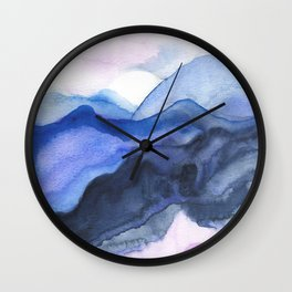 Mountain Abstract Watercolor Wall Clock