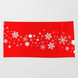 Red Christmas Snowflake  Banner Beach Towel