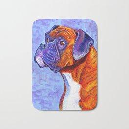 Devoted Guardian - Brindle Boxer Dog Bath Mat