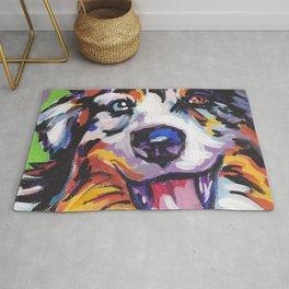 Fun AUSTRALIAN SHEPHERD Dog bright colorful Pop Art Rug