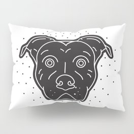 Black Pitbull Head Dog Print Pillow Sham