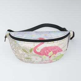 Elegant vintage french Eiffel Tower watercolor flamingo floral Fanny Pack
