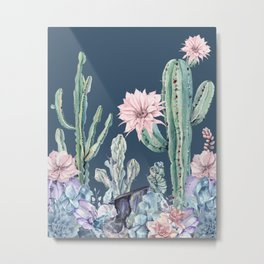 Desert Cactus Succulents + Gemstones on Teal Navy Metal Print