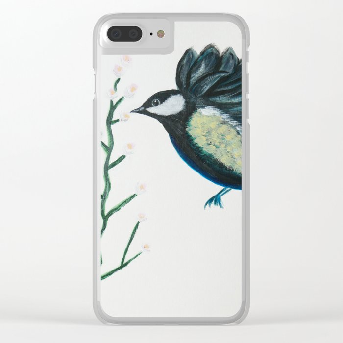 BLUE BIRD Clear iPhone Case