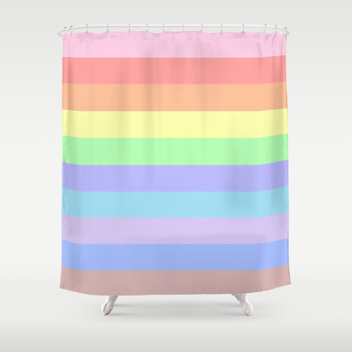 Pastel Rainbow Stripes Shower Curtain