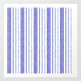 Thin Blue Speckled Vertical Line Pattern Art Print