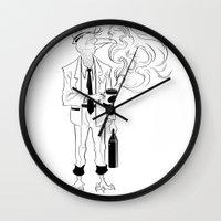 birdman Wall Clocks featuring Birdman Coffee by Brendon  Ink
